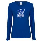 Ladies Royal Long Sleeve V Neck T Shirt-Hampton Pirates