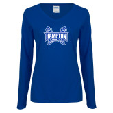 Ladies Royal Long Sleeve V Neck T Shirt-Hampton Pirates Swords