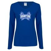 Ladies Royal Long Sleeve V Neck T Shirt-Hampton Pirates Swords