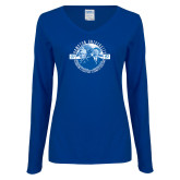 Ladies Royal Long Sleeve V Neck T Shirt-Celebrating A Legacy and A Legend of Excellence