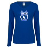 Ladies Royal Long Sleeve V Neck T Shirt-Hampton Sailing Championship Finalist