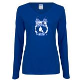 Ladies Royal Long Sleeve V Neck T Shirt-Hampton Sailing Championship Finalist