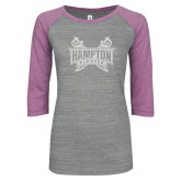 ENZA Ladies Athletic Heather/Violet Vintage Baseball Tee-Hampton Pirates Swords Glitter
