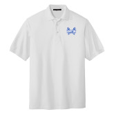 White Easycare Pique Polo-Hampton Pirates Swords