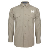 Khaki Long Sleeve Performance Fishing Shirt-Hampton Pirates Swords