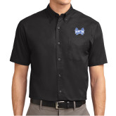 Black Twill Button Down Short Sleeve-Hampton Pirates Swords