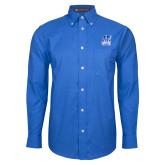 Mens Royal Oxford Long Sleeve Shirt-Hampton Pirates