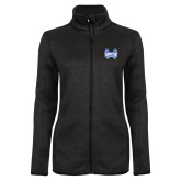 Black Heather Ladies Fleece Jacket-Hampton Pirates Swords