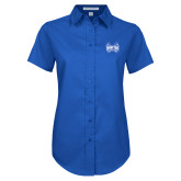Ladies Royal Twill Button Up Short Sleeve-Hampton Pirates Swords