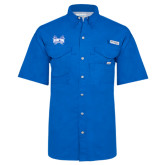 Columbia Bonehead Royal Short Sleeve Shirt-Hampton Pirates Swords