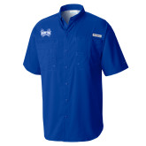 Columbia Tamiami Performance Royal Short Sleeve Shirt-Hampton Pirates Swords