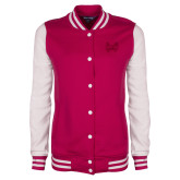 Ladies Pink Raspberry/White Fleece Letterman Jacket-Hampton Pirates Swords