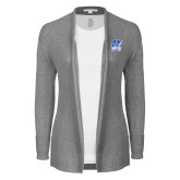 Ladies Heather Grey Open Front Cardigan-Hampton Pirates