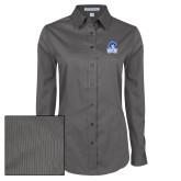 Ladies Grey Tonal Pattern Long Sleeve Shirt-Hampton Lady Pirates