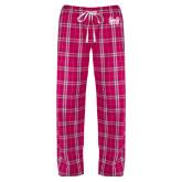 Ladies Dark Fuchsia/White Flannel Pajama Pant-Hampton Pirates Swords