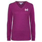 Ladies Deep Berry V Neck Sweater-Hampton Pirates Swords