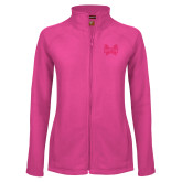 Ladies Fleece Full Zip Raspberry Jacket-Hampton Pirates Swords