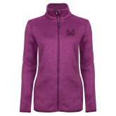 Dark Pink Heather Ladies Fleece Jacket-Hampton Pirates Swords