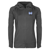 Ladies Sport Wick Stretch Full Zip Charcoal Jacket-Hampton Pirates Swords