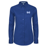 Ladies Royal Twill Button Down Long Sleeve-Hampton Pirates Swords