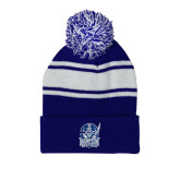 Royal/White Two Tone Knit Pom Beanie w/Cuff-Hampton Pirates