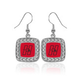 Crystal Studded Square Pendant Silver Dangle Earrings-Primary Logo Mark H