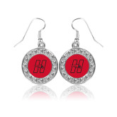 Crystal Studded Round Pendant Silver Dangle Earrings-Primary Logo Mark H
