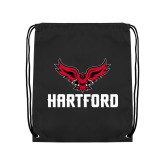 Black Drawstring Backpack-Hartford w/ Hawk Combination Mark