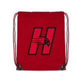 Red Drawstring Backpack-Primary Logo Mark H