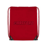 Red Drawstring Backpack-Hartford Logotype
