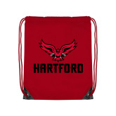 Red Drawstring Backpack-Hartford w/ Hawk Combination Mark