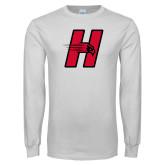 White Long Sleeve T Shirt-Primary Logo Mark H