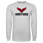 White Long Sleeve T Shirt-Hartford w/ Hawk Combination Mark