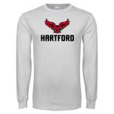 White Long Sleeve T Shirt-Hartford w/ Hawk Combination Mark