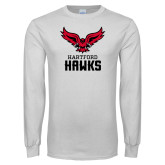 White Long Sleeve T Shirt-Hartford Hawks w/ Hawk Stacked