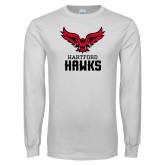 White Long Sleeve T Shirt-Hartford Hawks w/ Hawk Stacked