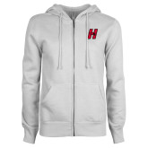 ENZA Ladies White Fleece Full Zip Hoodie-Primary Logo Mark H