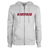 ENZA Ladies White Fleece Full Zip Hoodie-Hartford Logotype