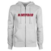 ENZA Ladies White Fleece Full Zip Hoodie-Hartford Logotype