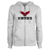 ENZA Ladies White Fleece Full Zip Hoodie-Hartford w/ Hawk Combination Mark