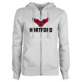 ENZA Ladies White Fleece Full Zip Hoodie-Hartford w/ Hawk Combination Mark