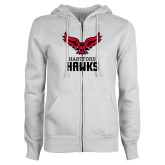 ENZA Ladies White Fleece Full Zip Hoodie-Hartford Hawks w/ Hawk Stacked
