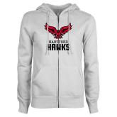 ENZA Ladies White Fleece Full Zip Hoodie-Hartford Hawks w/ Hawk Stacked