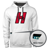 Contemporary Sofspun White Hoodie-Primary Logo Mark H