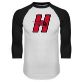 White/Black Raglan Baseball T-Shirt-Primary Logo Mark H