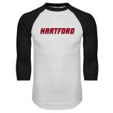 White/Black Raglan Baseball T-Shirt-Hartford Logotype