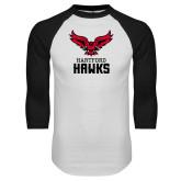 White/Black Raglan Baseball T-Shirt-Hartford Hawks w/ Hawk Stacked