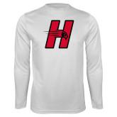 Performance White Longsleeve Shirt-Primary Logo Mark H