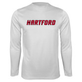Performance White Longsleeve Shirt-Hartford Logotype
