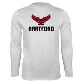 Performance White Longsleeve Shirt-Hartford w/ Hawk Combination Mark